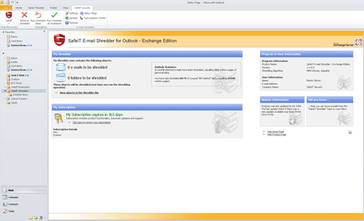 E-mail Shredder for Outlook Exchange Edition